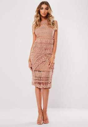 Missguided Crochet Layered Midi Dress