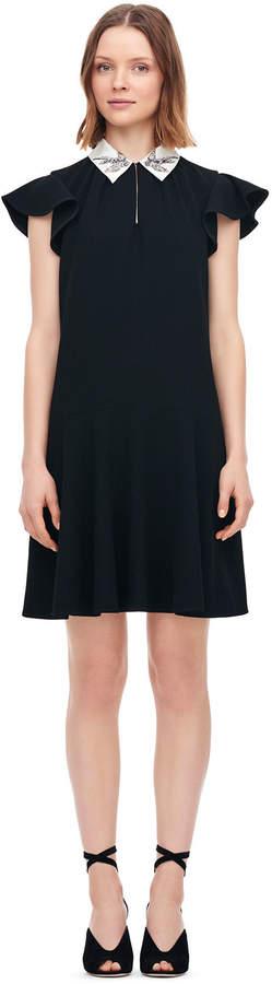 Rebecca Taylor Bird Embellished Crepe Dress