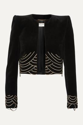 Saint Laurent Cropped Embellished Cotton-velvet Blazer - Black