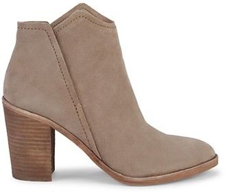 Dolce Vita Embossed-Snakeskin Leather Suede Pull-On Booties