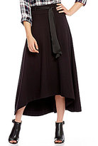 Jag Jeans Meredith Pull-On Hi-Low A-Line Skirt with Satin Belt