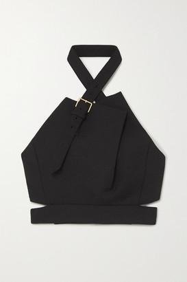 Proenza Schouler Cropped Buckled Wool-blend Halterneck Top - Black