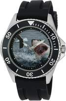 EWatchFactory Men's 'Shark Week' Quartz Stainless Steel and Rubber Sport Watch, Color:Black (Model: WDC000090)
