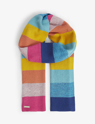 Kurt Geiger Rainbow metallic cotton and wool-blend scarf