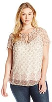 Lucky Brand Women's Plus-Size Feminine Pleated Top