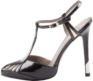 Versace Metalic Gold And Black Patent Leather T Strap Sandals Size 38