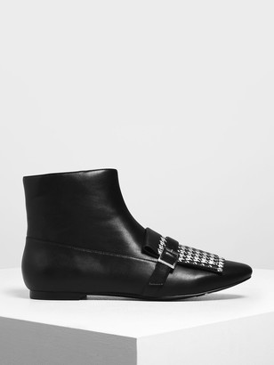 Charles & Keith Houndstooth Printed Fringe Flat Ankle Boots