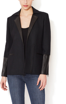 Helmut Lang Wide Notch Lapel Blazer with Leather Accents