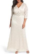 Alex Evenings Plus Size Women's Embellished Lace A-Line Gown