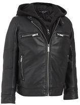 Black Rivet Adult Boy's Hooded Faux-Leather Jacket