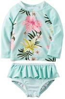 Carter's Baby Girl Floral Rashguard & Ruffled Bottoms Swimsuit Set