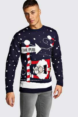 boohoo To The Pub Knitted Christmas Jumper