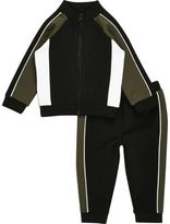 River Island Mini boys khaki block zip track jacket set