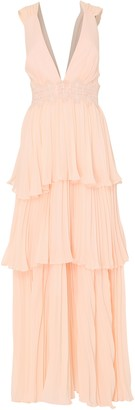 True Decadence Soft Peach Plunge Front Tie Back Maxi Dress