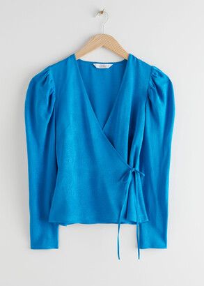 And other stories Jacquard Puff Sleeve Wrap Top