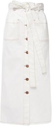 See by Chloe Belted Denim Midi Skirt