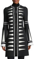 Andrew Gn Zip-Front Triangle Jacquard Coat