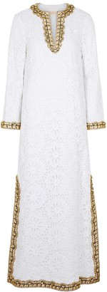 Tory Burch Embellished floral lace cotton maxi dress