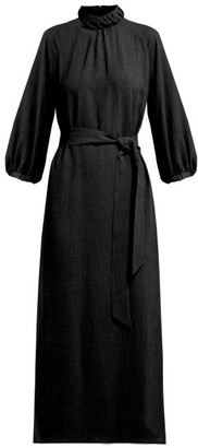 Cefinn Tie-waist Gathered Voile Midi Dress - Black Multi