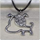 Nobrand No brand Fashion Tibetan Silver Pendant dog Necklace Choker Charm Black Leather Cord Handmade Jewlery