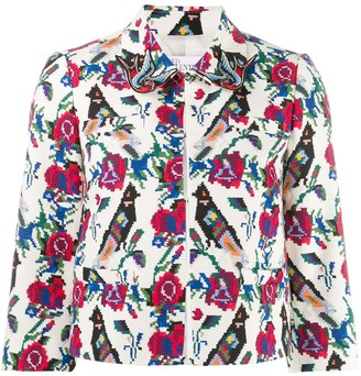RED Valentino Floral Bird Print Cropped Jacket