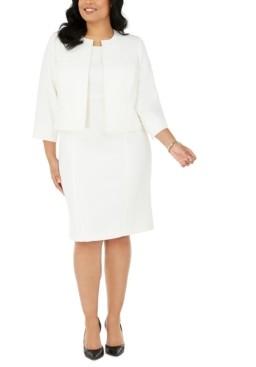 Le Suit Plus Size Jacquard Dress & Collarless Jacket Suit