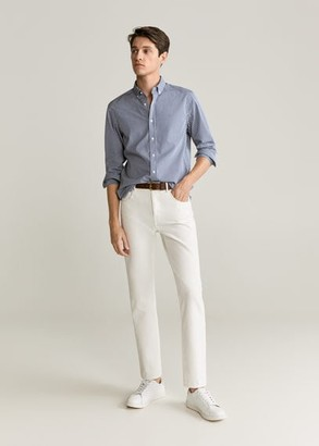 MANGO MAN - Slim fit gingham check shirt khaki - XS - Men