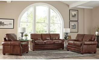 17 Stories Lyndsey 3 Piece Leather Living Room Set 17 Stories Upholstery Color: Chestnut Brown