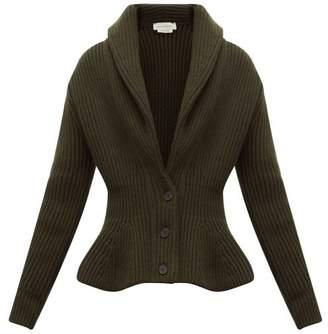 Alexander McQueen Mcqueen Shawl-collar Wool-blend Cardigan - Womens - Khaki