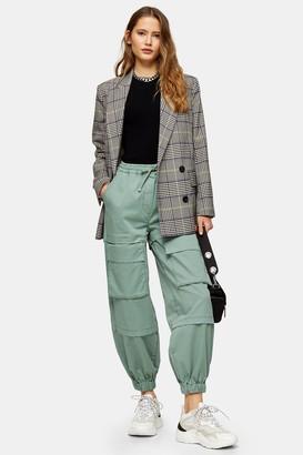 Topshop Womens Khaki Cargo Pocket Woven Joggers - Khaki
