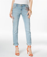 INC International Concepts Embroidered Indigo Wash Straight-Leg Jeans, Only at Macy's
