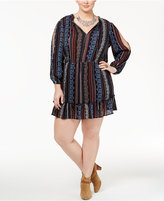 Jessica Simpson Trendy Plus Size Printed Peasant Dress