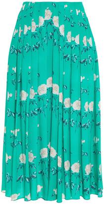 Emilia Wickstead Richie Pleated Floral-print Silk Crepe De Chine Midi Skirt
