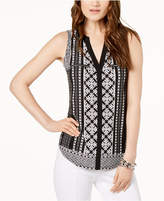 INC International Concepts I.n.c. Printed Split-Neck Top, Created for Macy's