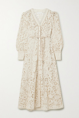 Zimmermann Freja Belted Broderie Anglaise Cotton Maxi Dress - Ivory