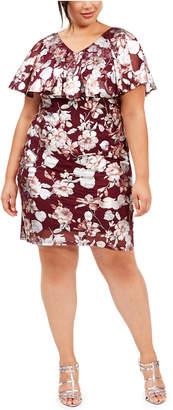 Connected Plus Size Floral-Print Flounce Sheath Dress