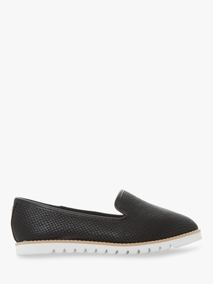 Dune Wide Fit Galleon Ridged Loafers, Black