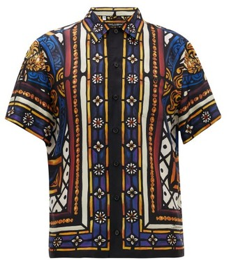 Dolce & Gabbana King's Age Stained-glass Print Silk-faille Shirt - Mens - Multi