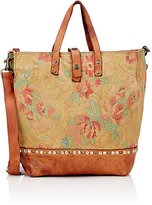 Campomaggi WOMEN'S STUDDED CANVAS TOTE-BROWN