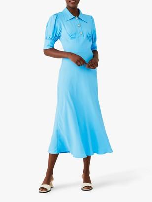 Ghost Wilma Collar Midi Dress, Blue