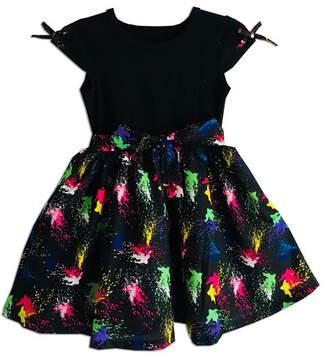 Joe Ella Lyndsay Splash Print Stretch Bodice Dress (Little Girls & Big Girls)