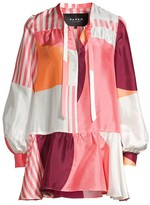 Paper London Formentera Patchwork Tie-Neck Silk Dress