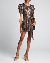 LoveShackFancy Mercy Floral Print Metallic-Silk Puff-Sleeve Dress