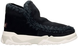 Mou Eskimo Trainer Low Heels Ankle Boots In Black Suede