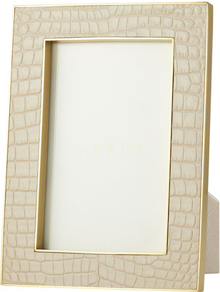 """AERIN Classic Croc Leather Photo Frame - Fawn - 4x6"""""""