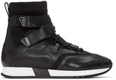 Versace Black Leather and Neoprene High-top Sneakers