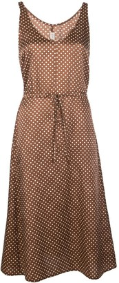 Raquel Allegra Polka Dot Print Midi Dress