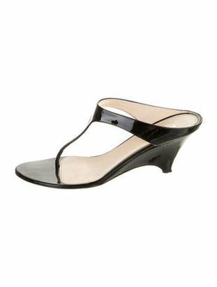 Prada Patent Leather Cutout Accent T-Strap Sandals Black