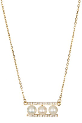 ADORNIA Yellow Gold Plated Sterling Silver 7mm Freshwater Pearl Swarovski Crystal Accented Bar Necklace
