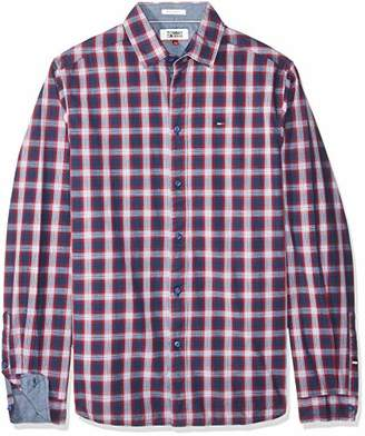 Tommy Jeans Men's Check Classic Casual Shirt,Large